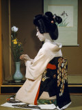 Portrait of a Seated Geisha Wearing Kimono and Obi Fotografisk trykk av Joseph Baylor Roberts