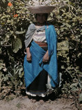Woman Poses in Traditional Clothing in Front of a Plant Photographic Print by Jacob Gayer