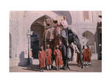 Royal Elephant Flanked by Guards Awaits the Maharaja Photographic Print by Franklin Price Knott