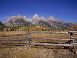 Jagged Mountains and Autumn Landscape at Grand Teton National Park Photographic Print by Ed George