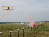 Researchers Signal a Plane Flying Low to Distribute Insecticide Photographic Print by Jack Fletcher