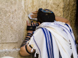 "Western Wall, Jewish Man Wearing a Prayer Shawl ""Talit"" and Phylacteries or Tefillin Photographic Print by Richard Nowitz"