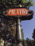 Art Nouveau Metro Sign on the Champs Elysees in Paris Photographic Print by Richard Nowitz
