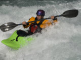 Kayaker Paddles in Waves on the Kananskis River, Near Calgary Photographic Print by Gordon Wiltsie