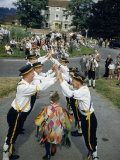 Morris Dancers Perform on a Village Street as Spectators Watch Photographic Print by David Boyer