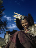 Smiling Farm Girl Wears Her Dowry as Turquoises on a Headdress Photographic Print by Volkmar K. Wentzel