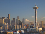 Mount Rainier Behind the Seattle Skyline with the Space Needle Photographic Print by Gordon Wiltsie