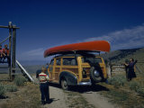 Travelers Stop to Look at Lemhi Pass, Border of Montana and Idaho Photographic Print by Ralph Gray