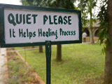 """Quiet Please"" Sign at Indus Valley Ayurvedic Center in India Photographic Print by Michael Melford"