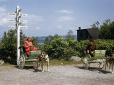 Women Sit in Dog Carts Near a Mileage Sign to Far-Off Destinations Photographic Print by Jack Fletcher
