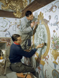 Master Craftsman and His Apprentice Restore a War-Damaged Fresco Photographic Print by Volkmar K. Wentzel
