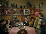 American Corporal Sits at a Tavern Table with Austrian Merrymakers Photographic Print by Volkmar K. Wentzel
