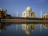 At Sunrise the Taj Mahal's Reflection Shimmers in Tranquil River Photographic Print by Joseph Baylor Roberts