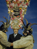 Man Wears Tinsel Shako to Scare Masked Devils at Winter Festival Photographic Print by Volkmar K. Wentzel