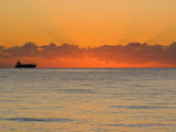 Silhouetted Ship Moments before the Sun Rises over the Horizon Photographic Print by Mike Theiss