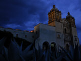 Agave Plants and the Church of Santo Domingo at Night Photographic Print by Raul Touzon