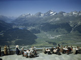 Tourists Overlook Upper Engadine Valley Cradled by Alpine Peaks Photographic Print by Willard Culver
