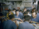 Submariners Eat Corn on the Cob, Fried Chicken, and Soup in Messroom Photographic Print by David Boyer