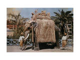 Men Guard a Indian Royal's Elephant Photographic Print by Franklin Price Knott
