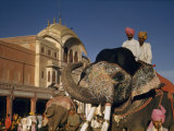 Elephant Wears Painted Face for Procession During Religious Festival Photographic Print by Volkmar K. Wentzel