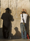 Orthodox Jew and Soldier Pray, Western Wall,Jewish Qt. Old City Photographic Print by Richard Nowitz