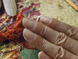 Notched Fingernails Serve as Combs for Fingernail Tapestry Weaver Photographic Print by Joseph Baylor Roberts