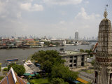 View of River and Cityscape from the Wat Arun Temple, Bangkok Photographic Print by Rebecca Hale