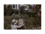 Artist Paints a Chatham Garden in Cape Cod Photographic Print by Clifton R. Adams