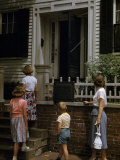 Tourists Approach the Front Door of Abraham Lincoln's Home Photographic Print by William Gray