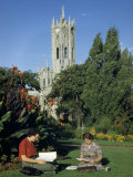 Students Read in Sun Near Auckland University College Clock Tower Photographic Print by Howell Walker