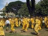 Buddhist Monks in Yellow Robes Gather for a Cremation Ceremony Photographic Print by W. Robert Moore