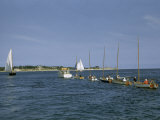 Motorboat Tows a String of Small Sailboats Back to Woods Hole Photographic Print by Melville Grosvenor