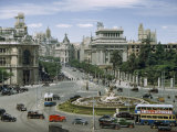 Traffic Swirls around the Cybele's Fountain in Central Madrid Photographic Print by Luis Marden