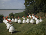 Costumed Ballet Dancers Pose on a Lawn Overlooking Mississippi River Photographic Print by Willard Culver
