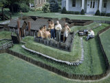 Men Attend Radio Interview on Grounds of Miniature Replica Fort Photographic Print by Walter Meayers Edwards