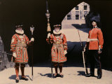 Chief Warder, a Coldstream Guardsmen, and a Yeoman Warder Pose Photographic Print by Clifton R. Adams