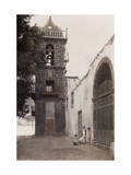 Four Children Stand Beside the Church and Bell Tower of Santo Domingo Photographic Print by Wilhelm Tobien