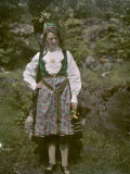 Female Norwegian Teacher Poses in Traditional Clothing Photographic Print by Gustav Heurlin