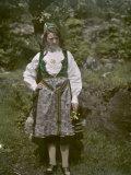 Female Norwegian Teacher Poses in Traditional Clothing Photographic Print by Gustav Heurlin