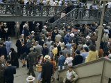 Commuters Crowd a Ferry Landing During Rush Hour Photographic Print by Maynard Owen Williams