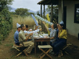 Members of an Archeological Expedition Celebrate at a Birthday Party Photographic Print by Richard Hewitt Stewart