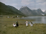 Women Among Wildflowers Near Village of Mundal on Sogne Fjord Photographic Print by Gustav Heurlin