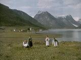 Women Among Wildflowers Near Village of Mundal on Sogne Fjord Photographic Print by Gustav Heurlin