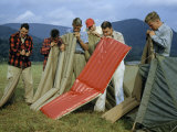 Campers Inflate their Air Mattresses in Unison Photographic Print by Walter Meayers Edwards