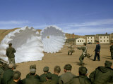 Airmen Learn to Control Open Parachutes on the Ground Photographic Print by Volkmar K. Wentzel