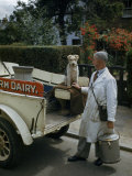 Milkman and His Terrier Pose at the Back of a Milk Truck Photographic Print by Melville Grosvenor