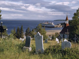 Centuries-Old Cemetery and Chapel Overlook Cruise Ship and Wide River Photographic Print by Andrew Brown