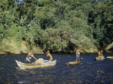 Men Pole Canoes Up a Shift, Shallow River Photographic Print by Richard Hewitt Stewart