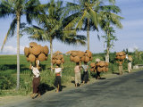Porters Carry Cooking Pots on their Heads and across their Shoulders Photographic Print by W. Robert Moore