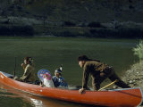 Actors in Annual Pageant Commemorating Lewis and Clark Launch Canoe Photographic Print by Ralph Gray